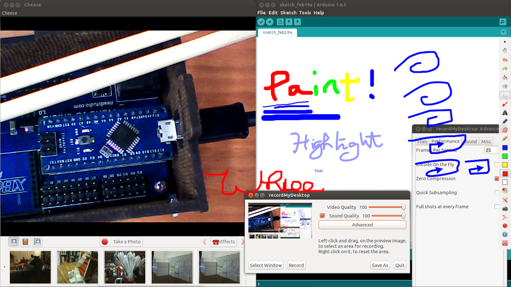 Ubuntu Hardware Course Screencasting: Screenpainting + live