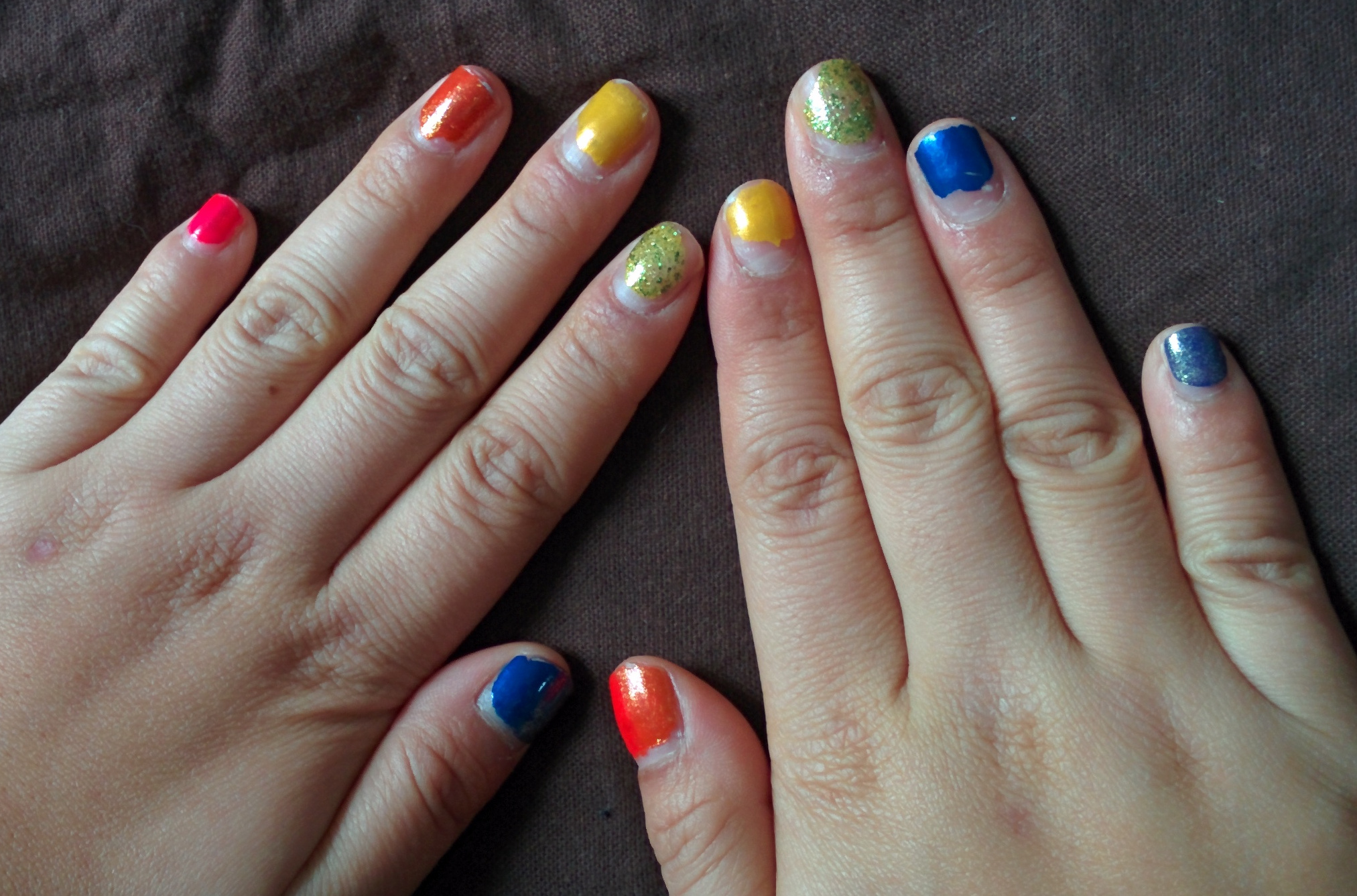 rainbow nails | orange narwhals
