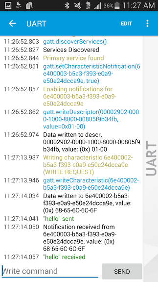 NRF Toolbox UART log showing sent and received messages